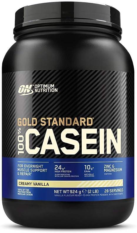 Optimum Nutrition Gold Standard Casein, Proteinas de Caseina en Polvo con BCAA Aminoacidos Esenciales, Zinc y Magnesio en Polvo, Vainilla, 28 ...