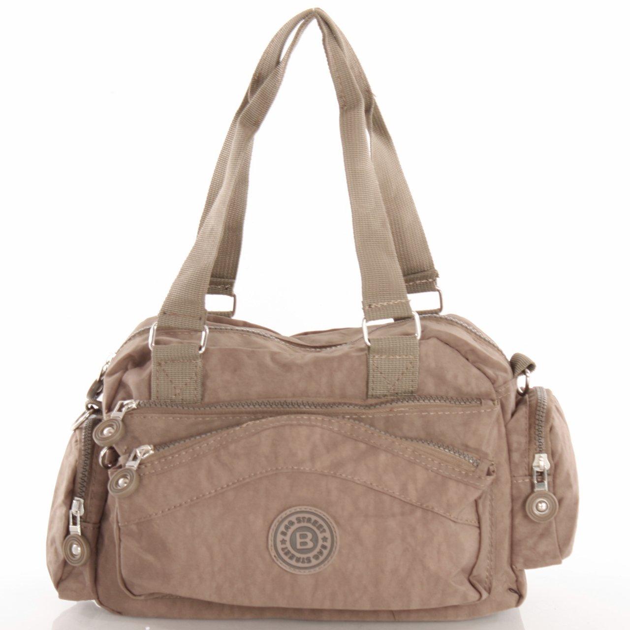 Bag Street Nylon Handtasche günstig Schultertasche Taupe