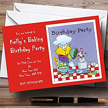 10 X Invitations Cooking Cake Baking Personalised Party Invites Any Wording Amazoncouk Office Products