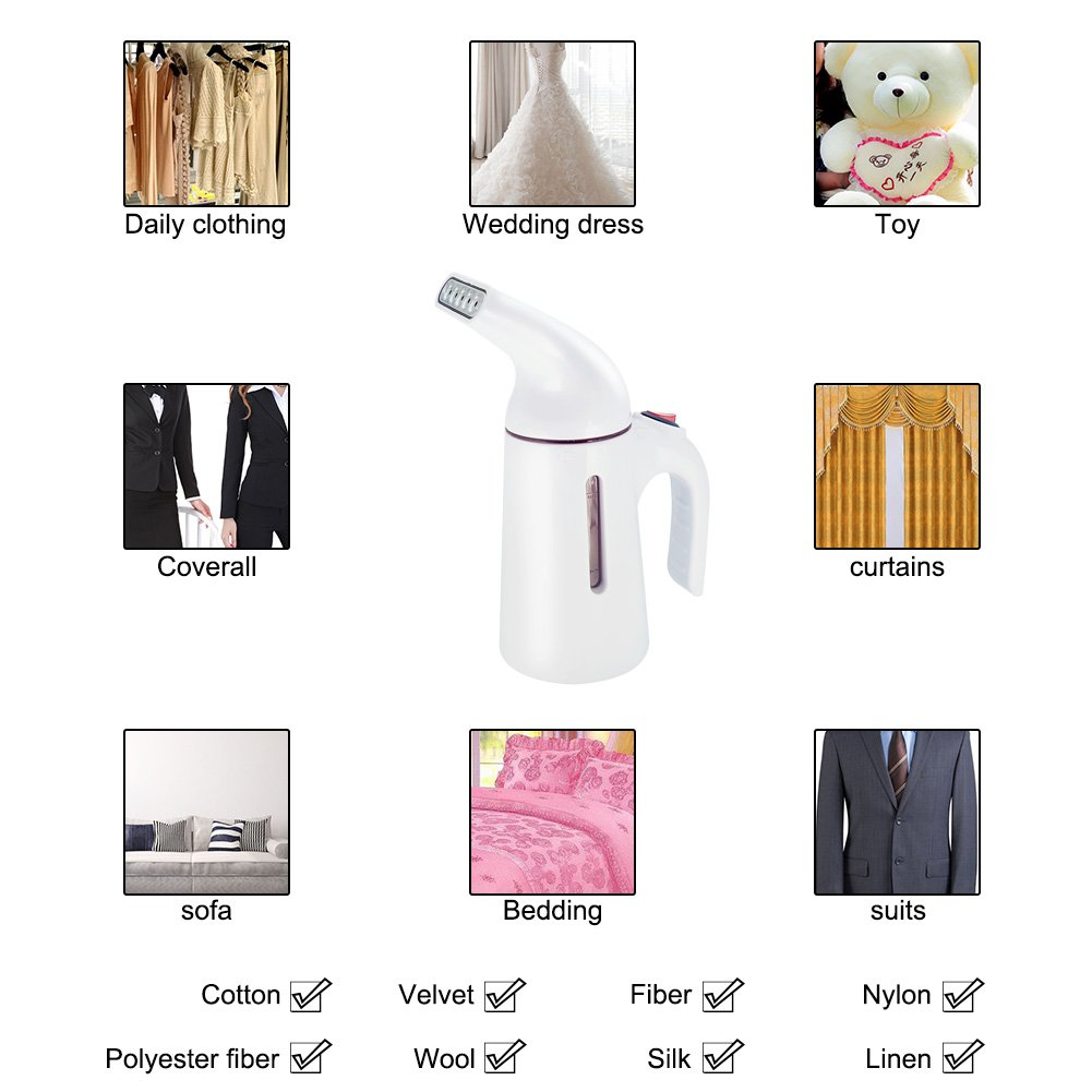 Garment Steamer Travel Fabric Steamer with 150ml Water Tank 45 Seconds Heat-Up Auto Shut-Off Safety Protection Perfect for Home & Hotel