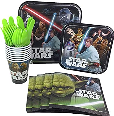 Star Wars Birthday Party Supplies Pack Including Cake & Lunch Plates, Cutlery, Cups & Napkins for 8 Guests