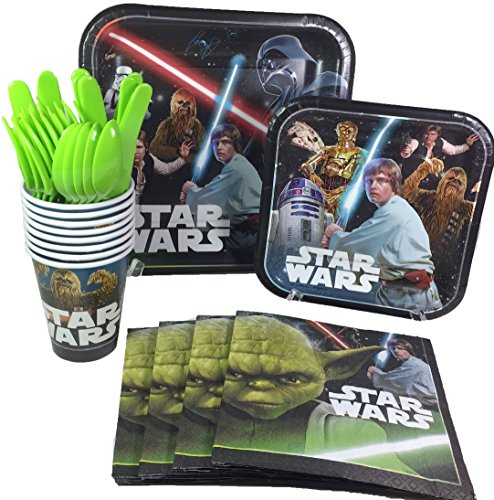 Star Wars Birthday Party Supplies Pack Including Cake & Lunch Plates, Cutlery, Cups & Napkins for 8 Guests -