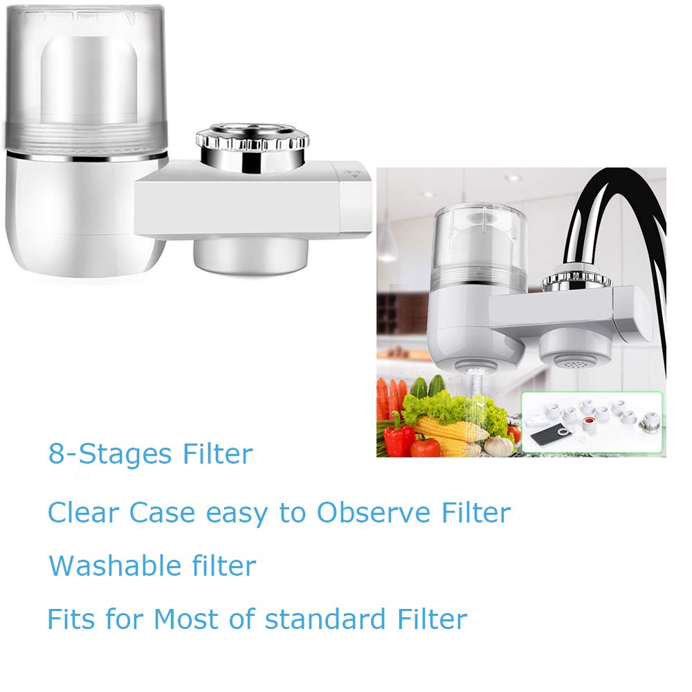 Vahome Faucet Water Filter Faucet Water Filter System for Kitchen and Bathroom Tap Water Filter 8-Stage Water Filter Fits with Most of Standard Faucets