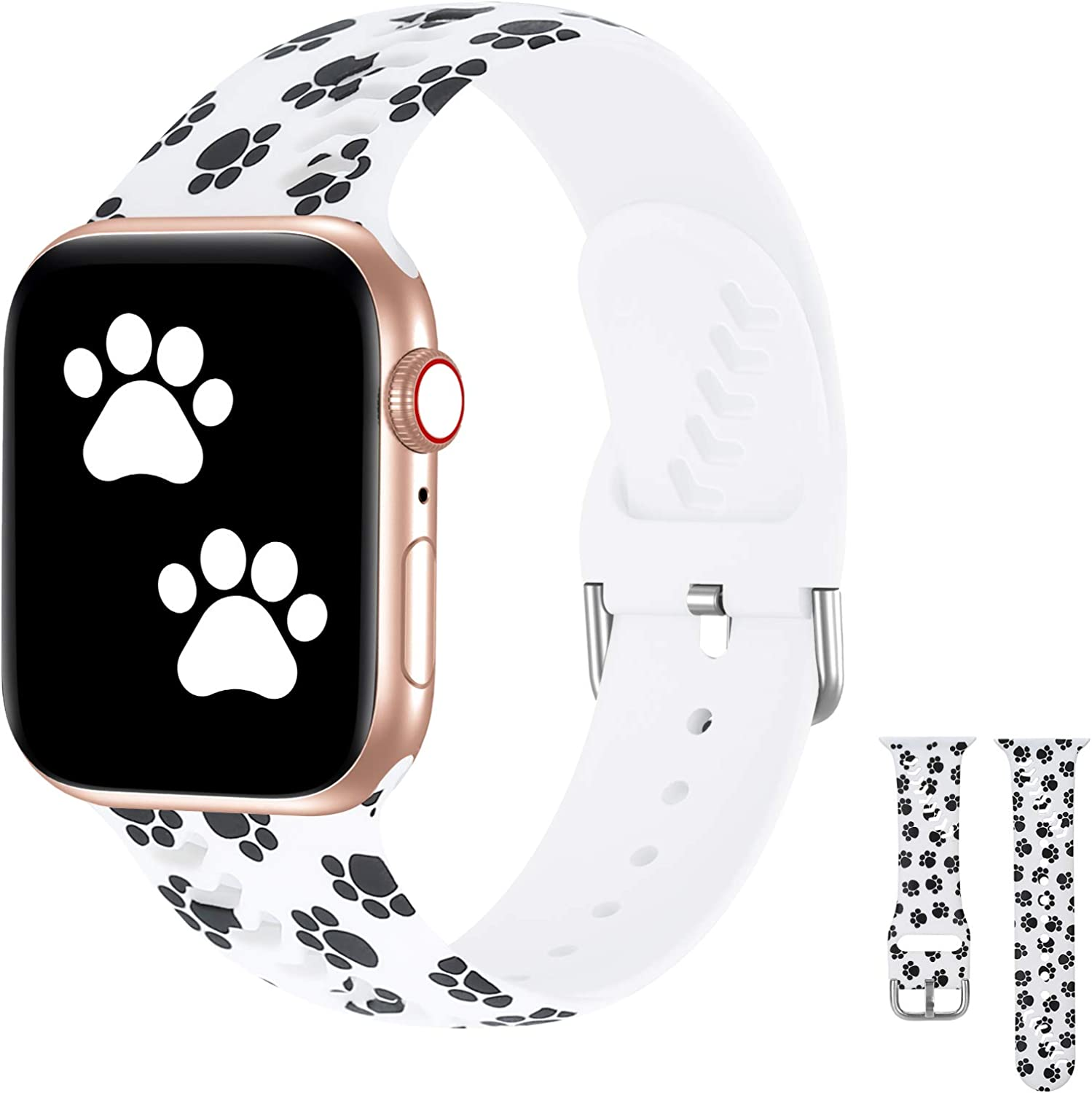iWabcertoo Sport Band Compatible with Apple Watch 38mm 40mm, Soft Silicone Fadeless Strap Replacement Bands for iWatch SE &Series 6/5/4/3/2/1,Sport Edition Women Men (Dog Paw)