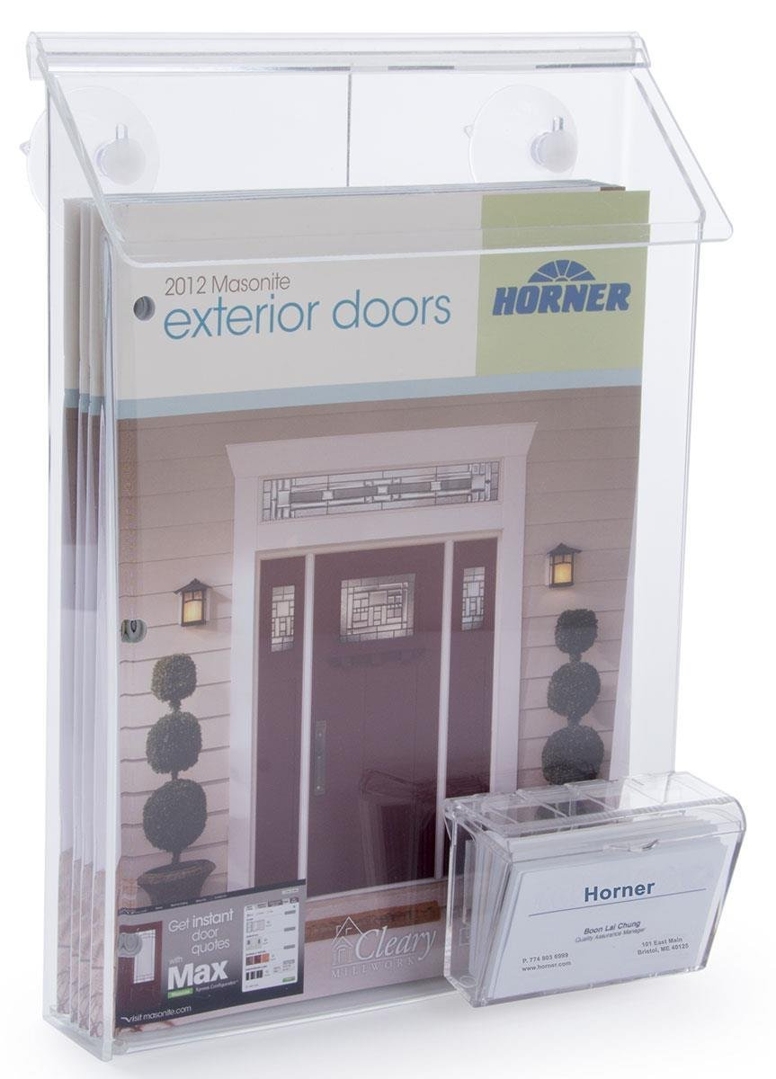 Marketing Holders Outdoor Magazine Holder for Booklets or Flyers, with Card Pocket, Wall Mount 9'' w x 11'' h Qty 1