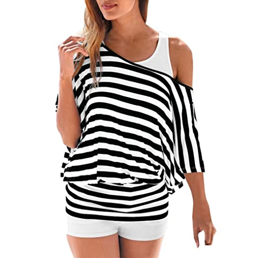 62861a1570a37 Amazon.com  Women Sexy One Cold Shoulder Striped Blouse Short Sleeve Casual  Loose Tops Tee  Clothing