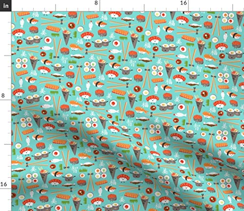 Spoonflower Sushi Fabric - Happy Kawaii Ditsy Scale Japanese Food Whimsical Aqua Print on Fabric by The Yard - Petal Signature Cotton for Sewing Quilting Apparel Crafts Decor