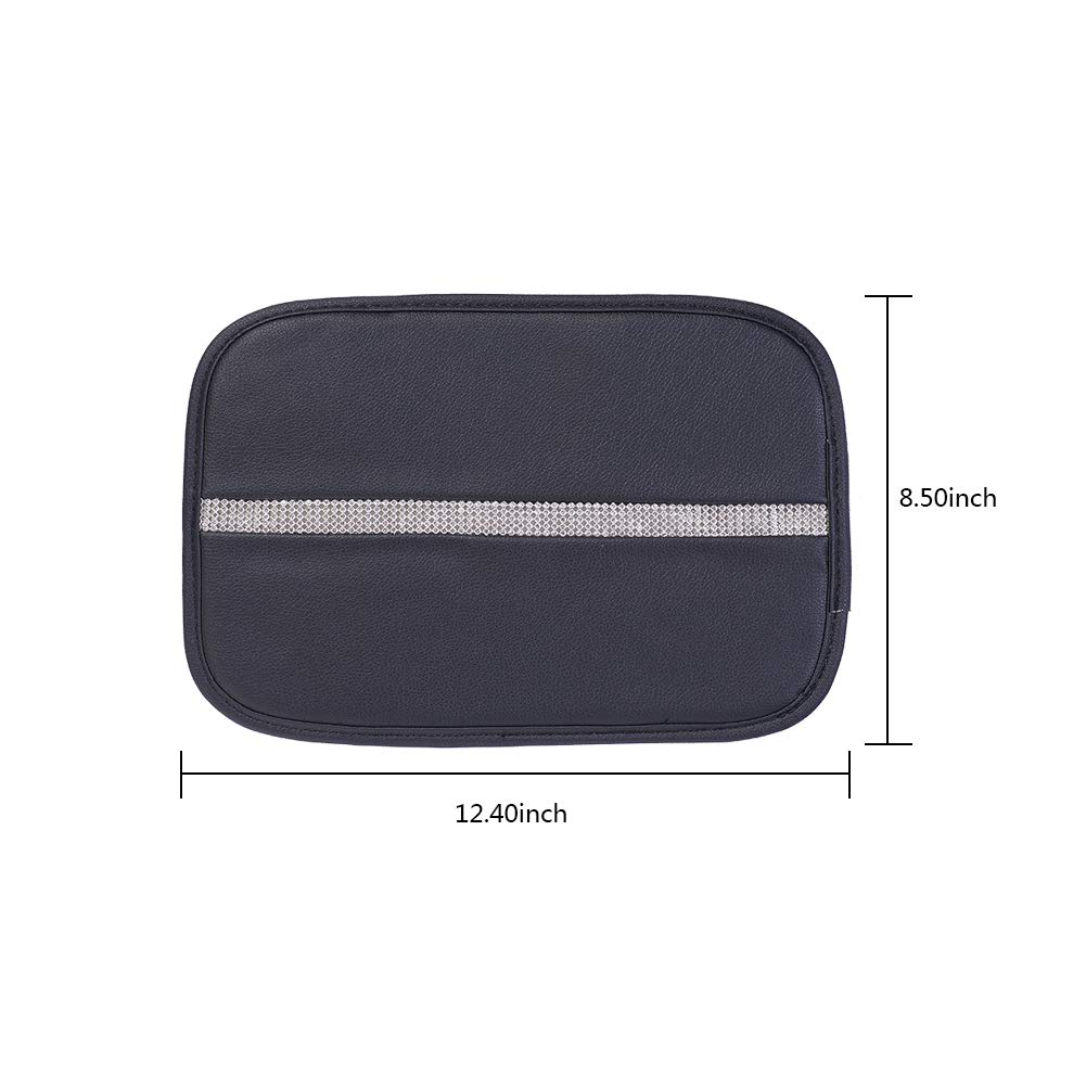 ATMOMO Black PU Car Center Console Pad Universal Car Armrest Cover Arm Rest Cushion Pads with Bling Strip