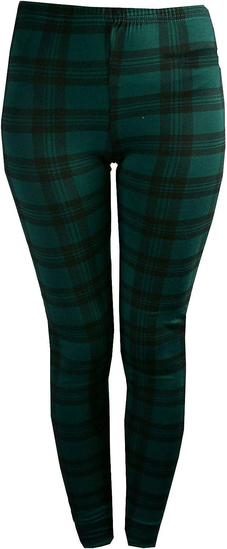 WearAll Womens Plus Red Tartan Check Print Elacticated Ladies Full Length Long Leggings 14-22