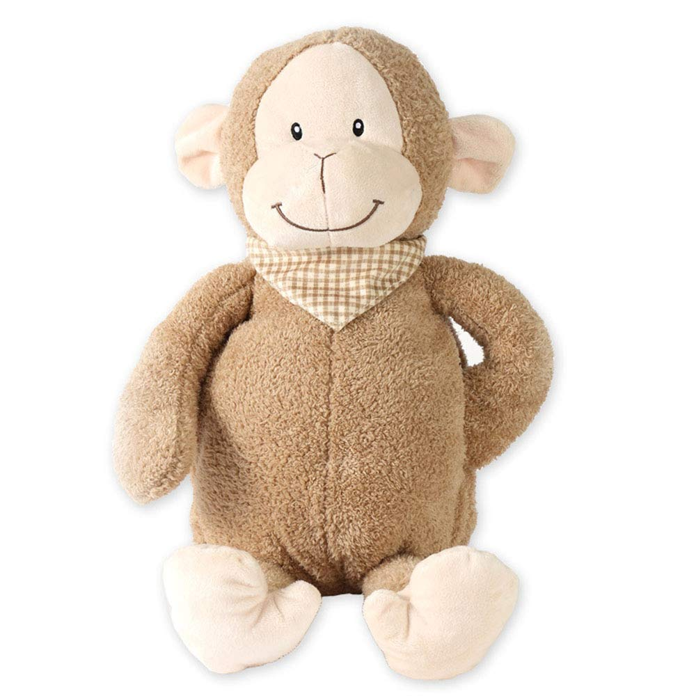 AYUE® Kids Hot Water Bottle with Monkey Plush Super Soft Cover Premium Natural Rubber 1 Litre Hot Water Bag - Helps Provide Warmth and Comfort by AYUE