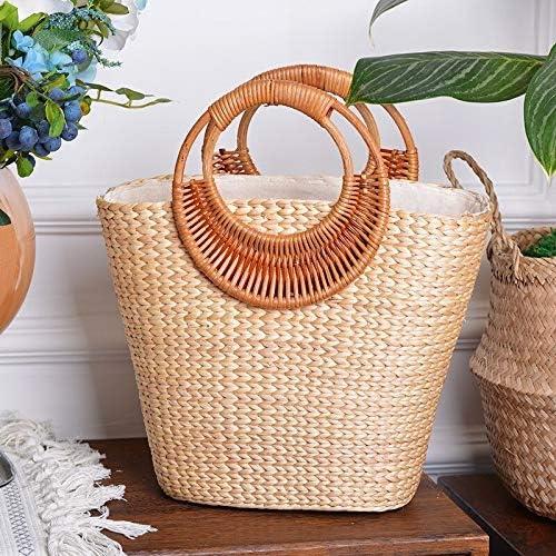 Xlin Verano de Las Mujeres de bambú Naturaleza Rota Tejida del Bolso de Mano Elegante Casual o Uso de Vacaciones (Color : Brown) Brown