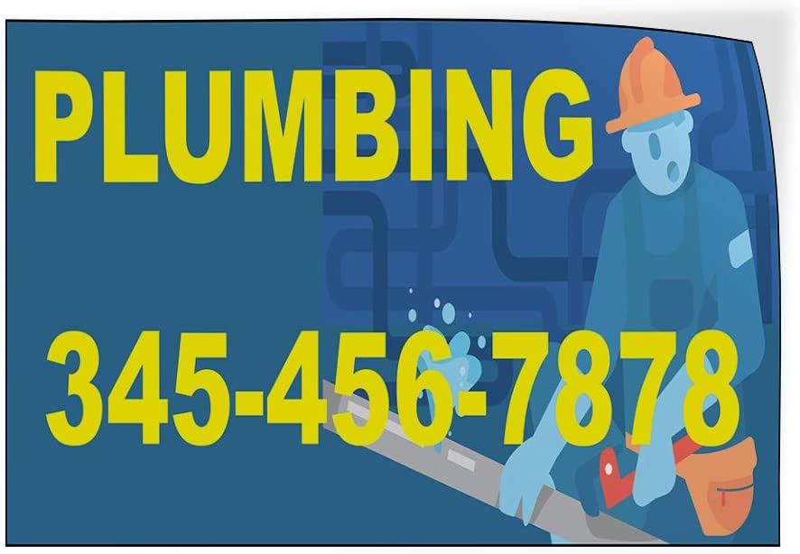 Custom Door Decals Vinyl Stickers Multiple Sizes Plumbing Phone Number Blue Yellow Business Plumbing Outdoor Luggage /& Bumper Stickers for Cars Blue 28X20Inches Set of 10