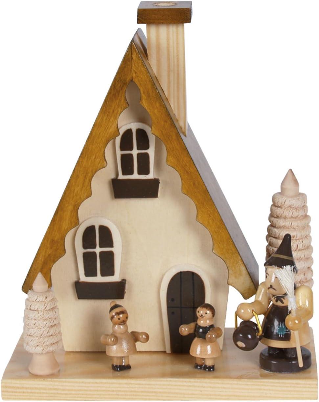 natur R/äucherhaus H/änsel und Gretel handbemalt im Erzgebirgestil H: 15cm