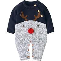 WALLARENEAR - overol de punto para recién nacido y niña, de manga larga, diseño de reno, ropa de invierno cálida