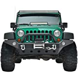 Full Width Front Bumper Compatible with 07-18 Jeep Wrangler JK and JK Unlimited Rock Crawler With Fog Lights Hole, Winch Plat