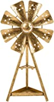 Glitzhome Glam Accent Home Collectible Figurine Brass Tabletop Garden Windmill Decor Ornamen Jewelry Holder for Earrings...