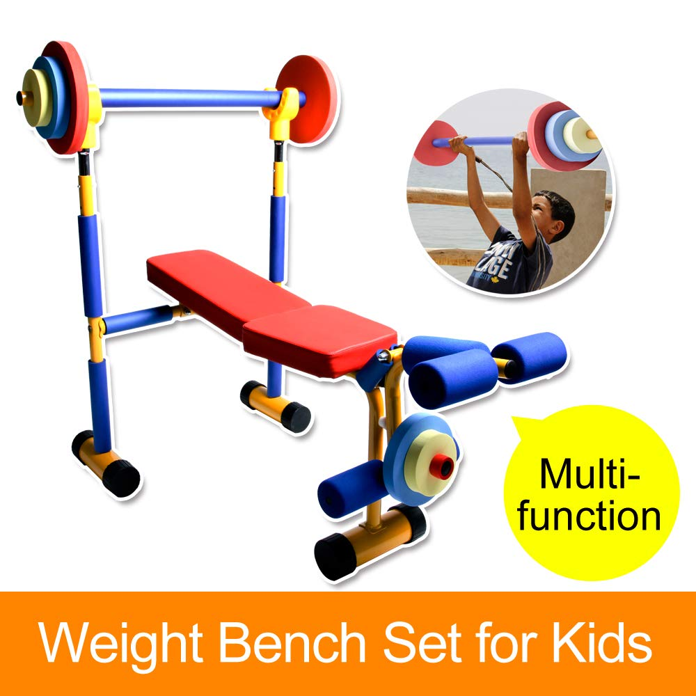 Akicon Kids Exercise Equipment - Adjustable Toy Weight Bench Set Workout Bench Press by Akicon (Image #4)