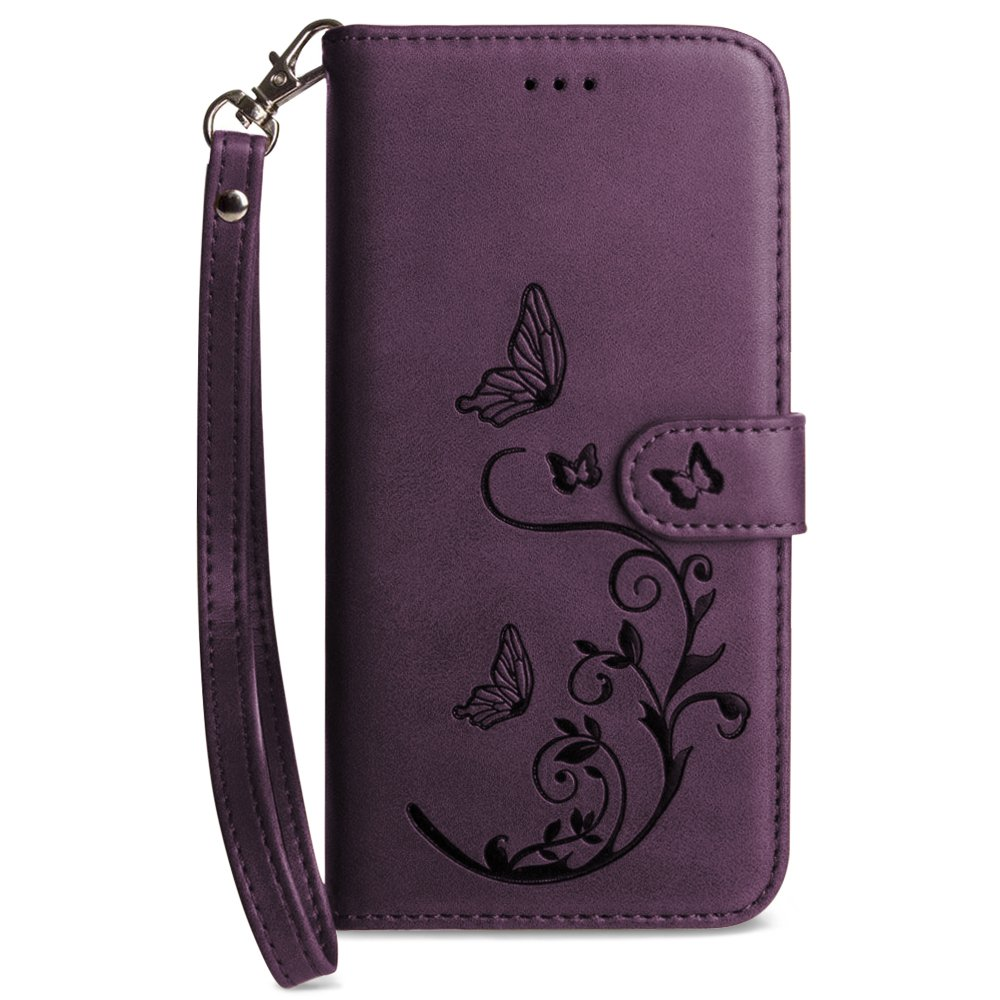 Galaxy S8 Wallet Case, Slim PU Leather Embossed Design with Matching Detachable Flip Cover with Credit Card Holder Wristlet for Women by Cellular Outfitter [Butterfly 2.0 - Purple]