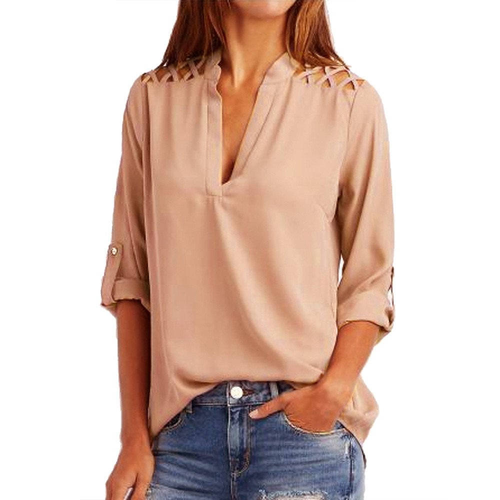rocicaS Clearance Women's Long Sleeve Fashion Solid Chiffon Tab-Sleeve Hollow Out Tunic Top Jumper Pullover Blouses Top S-XL