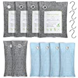 Bamboo Charcoal Air Purifying Bag 10 Pack(4x200g, 2x75g, 4x50g) with 4 Hooks, Natural Air Purifying Bag, Activated Charcoal Odor Eliminators, Odor Eliminating Charcoal Bags by 1Easylife