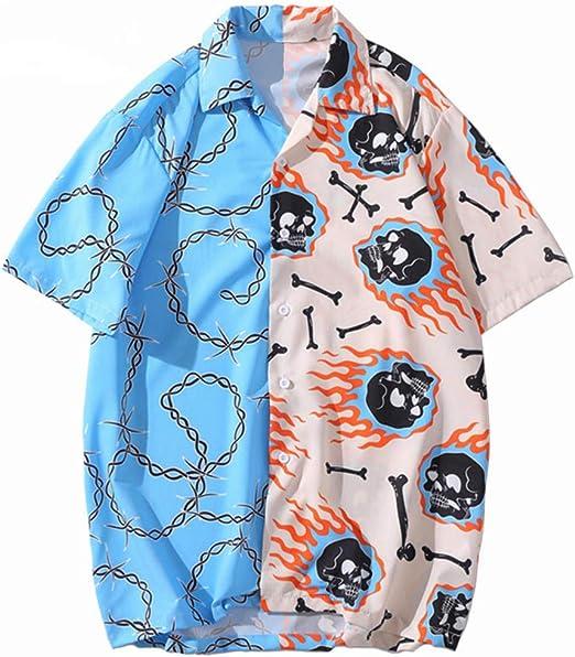 Camisa de Hip Hop Streetwear Hombres Camisa Hawaiana Cadena de Calavera de Fuego Camisa de Playa Harajuku Camisas de Hiphop Tops de Verano de Manga Corta: Amazon.es: Ropa y accesorios