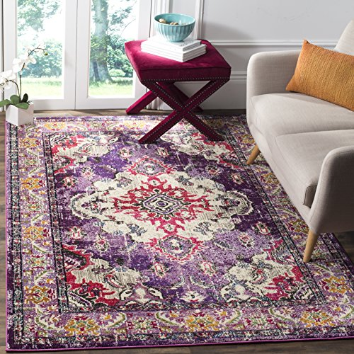 Safavieh Monaco Collection MNC243P Vintage Bohemian Violet and Fuchsia Distressed Area Rug (8' x 10')