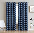 "HLC.ME Lattice Print Thermal Insulated Blackout Window Curtain Panels - Pair - Chrome Grommet Top - 63"" L, 84"" L, 96"" L, 108"" L"