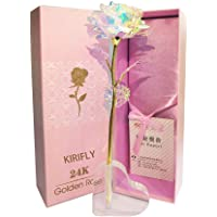 Kirifly Gold Rose Geschenk für Frauen Blumen Künstlich Deko Unechte Blumen Plastik für Hochzeit Freundin Muttertag Dankeschön Schwester