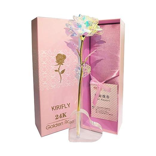 KIRIFLY Gold Rose Regalos para Mujeres Rosas Artificiales Fake Plastic Rebanada Flor Cumpleaños Aniversario Regalos de Ompromiso (Soporte del Corazón)