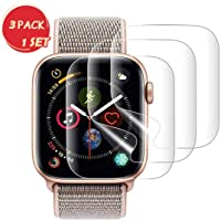 (3 Pack) Proxima Direct for Apple Watch Series 5/4 44mm Screen Protector (Series 5 Series 4),Liquid Skin [Max Coverage] Curved Edge Case Friendly