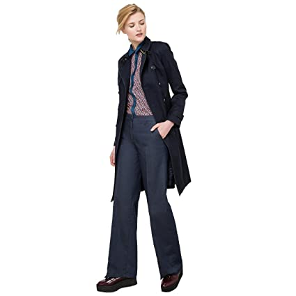 78fd55a1067b Amazon.com  La Redoute Collections Womens Cotton Trench Coat Blue Size US 4  - FR 34  Home   Kitchen