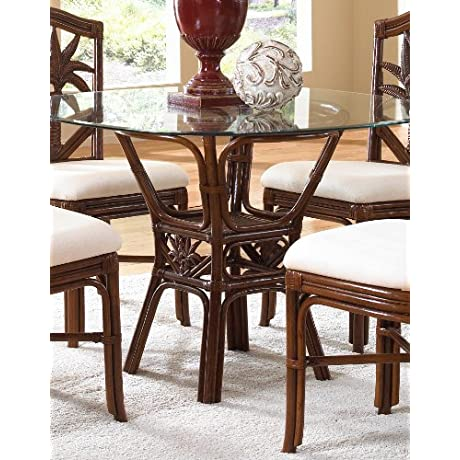 Cancun Palm Indoor Rattan Wicker Square Dining Table