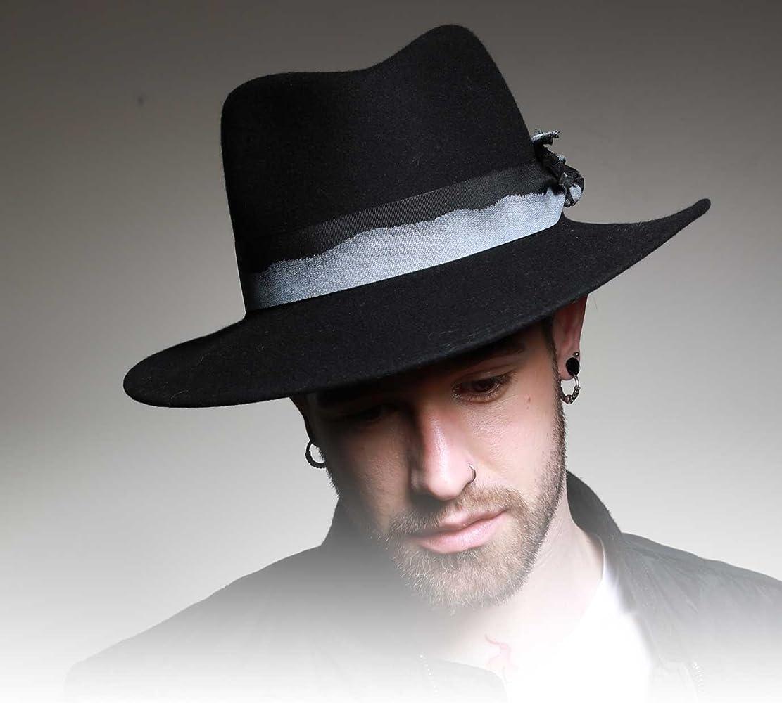Marky LInvincible Wool Felt Fedora Hat Water Repellent Wide Brim