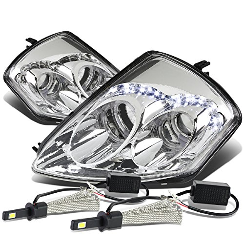 Mit Eclipse 3G Pair of Angel Eyes Dual Halo Projector Chrome Housing Headlight + H1 LED Conversion Kit