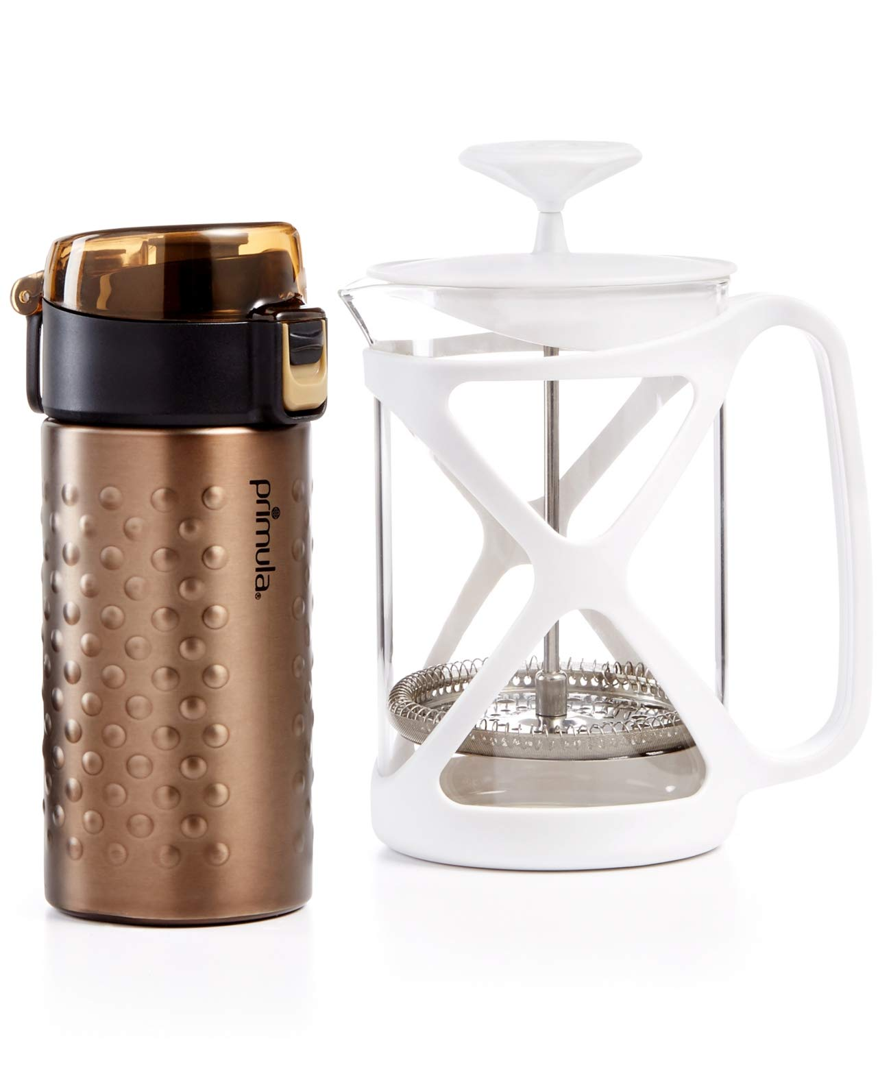 Primula Coffee Brew & Go Set 12oz Thermal Tumbler and 6 Cup Coffee Press, Bronze