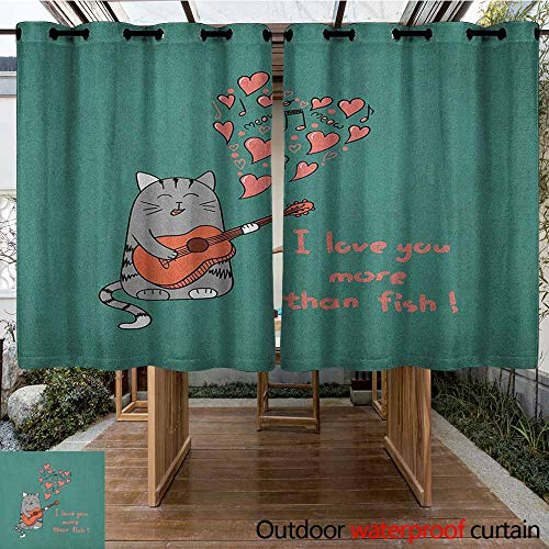 AndyTours Thermal Insulated Blackout Curtains,I Love You More,Cartoon Singing Cat with Guitar More Than Fish Song Music Notes and Hearts,Energy Efficient, Room Darkening,K160C115 Multicolor]()