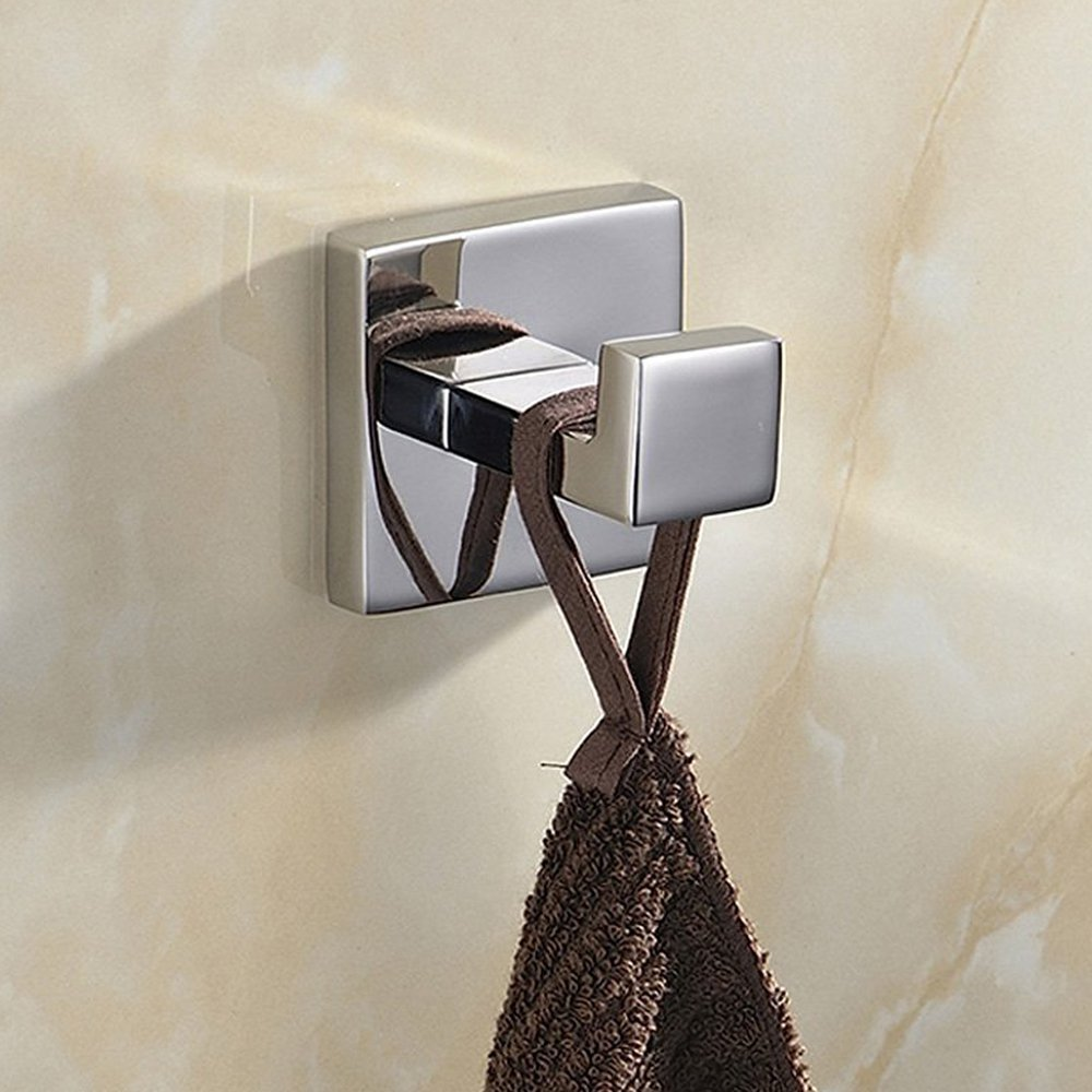 BigBig Home Square Classic Series SUS 304 Stainless Steel Clothes Hook Towel Hook Hanging Hooks Robe Hook, Contemporary Style Polished Chrome Finish Silver Wall Mounted Coat Hook Bathroom Accessories