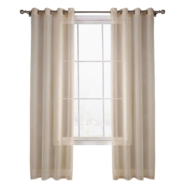 koyiscloth 2 Stück Reine farbe Eyelet Fenster Voile Net Vorhänge für Wohnzimmer Dekoration 140x160 cm 55X63 zoll ZJFuture