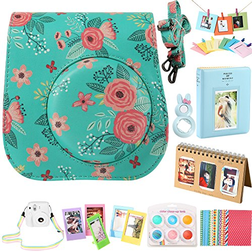 SAIKA Camera Accessories Bundle [Mini 9 Case+Album+Selfie Lens+Filters+Wall Hang Frames+Film Frames+Border Stickers+Shoulder Strap] for FujiFilm Instax Mini 9 8 8+ Instant Camera – Flowers