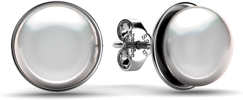 DEPHINI - Pendientes de perlas de plata de ley 925 - Joyería fina - Pendientes de gota de perlas reales del océano - Pendientes de tuerca blancos para mujer - Chapados en rodio premium