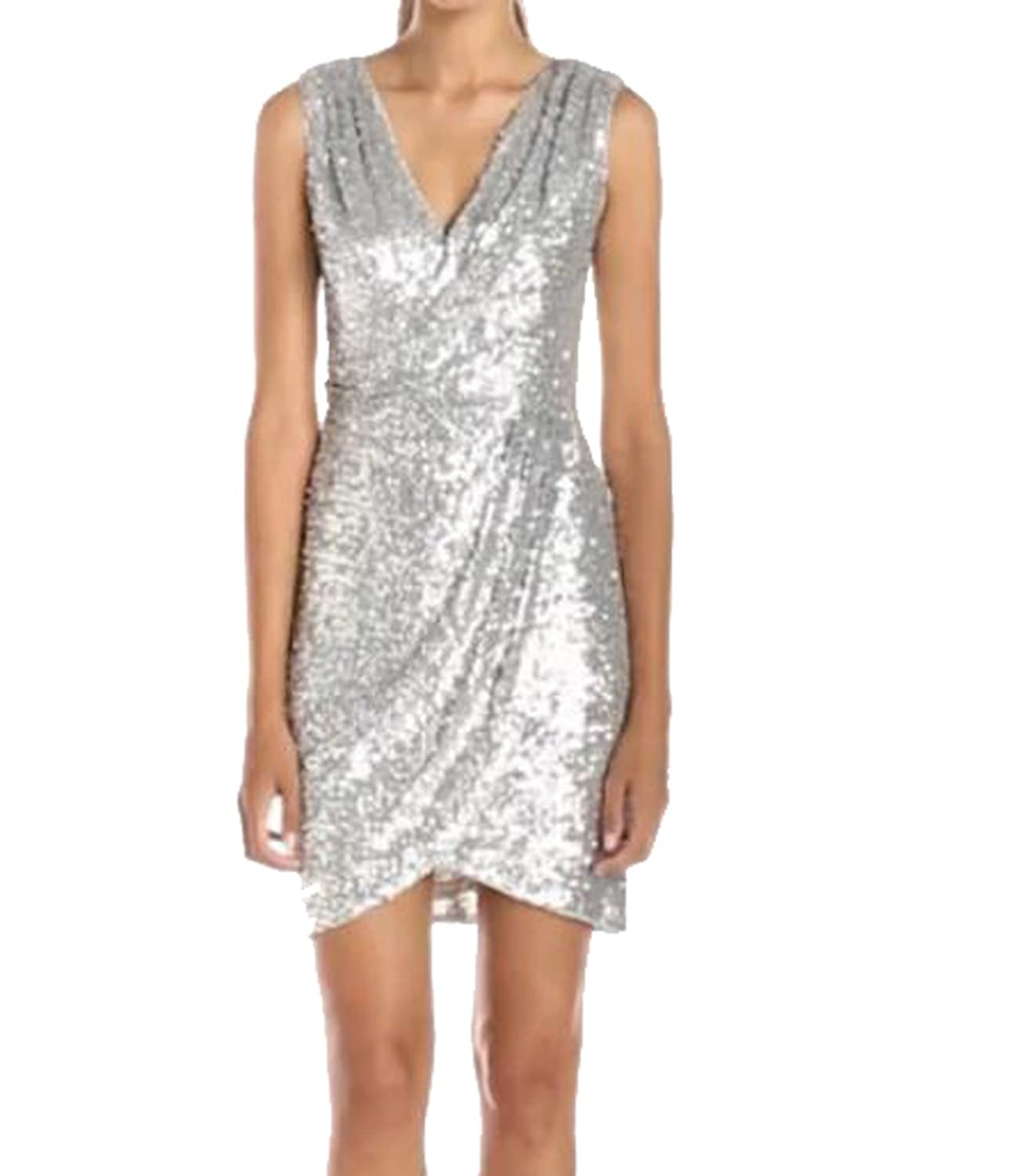 XTX Women Deep V Sleeveless Sequin Sexy Club Dress Party Dress 2XL As Picture