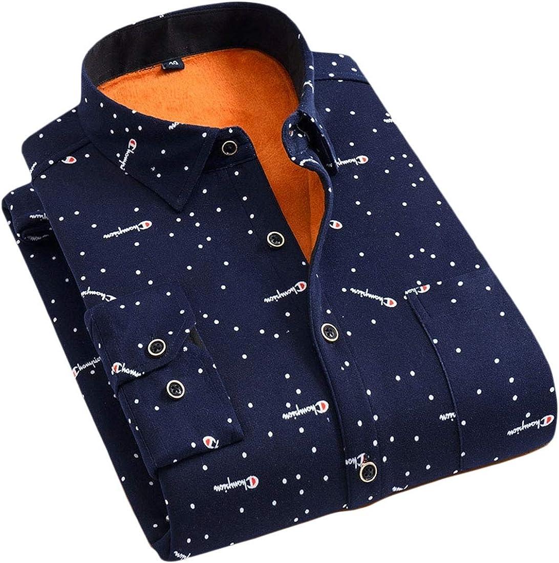 WAWAYA Mens Fleece Long Sleeve Casual Flannel Dress Checkered Shirt