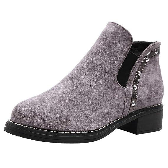MYMYG Botines Mujer Invierno Tacon Botas Remache Medio Tacon Ancho Ante Botita 5Cm Casual Tobillo Ankle Boots Suede Zapatos: Amazon.es: Ropa y accesorios