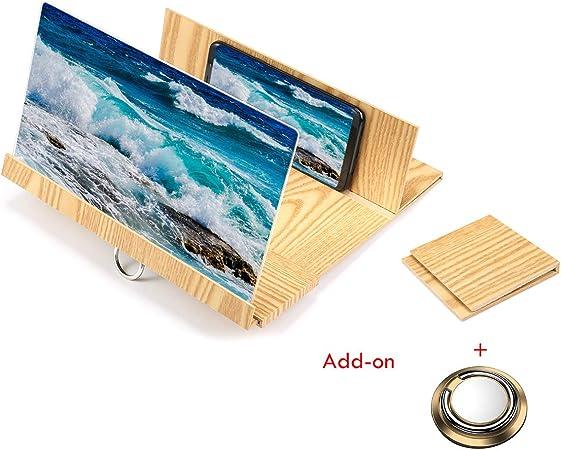 Kobwa - Lupa de pantalla para smartphone de 12 pulgadas, amplificador de pantalla de teléfono esterioscópico de grano de madera para teléfono móvil, amplificador de vídeo 3D HD con soporte plegable: Amazon.es: