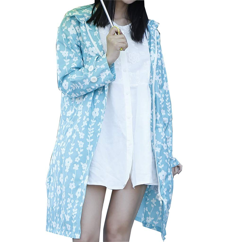 bluee Adult Women Outdoor Raincoat, Waterproof Windbreaker Poncho Siamese Body (color   bluee, Size   OneSize)