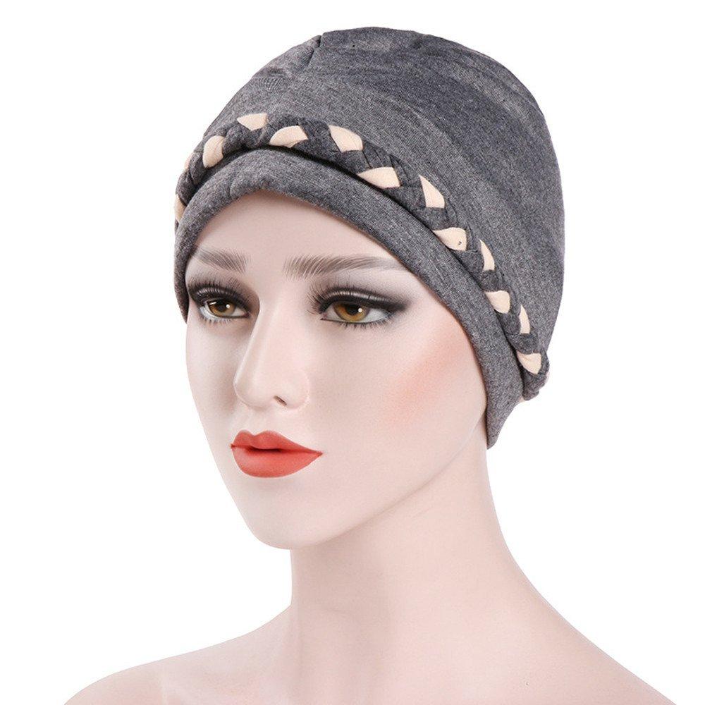 Damen Muslimische Stretch Turban Mütze mit Flecht Muster Frauen ...