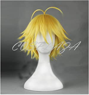 COSPLAZA Cosplay Wig Short Yellow Boy Male Styled Ahoge Anime Hair