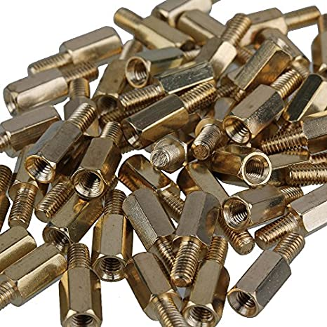 Hex Standoff #10-32 Screw Size Female 0.25 OD 4 Length, Pack of 5 Zinc Plated Brass