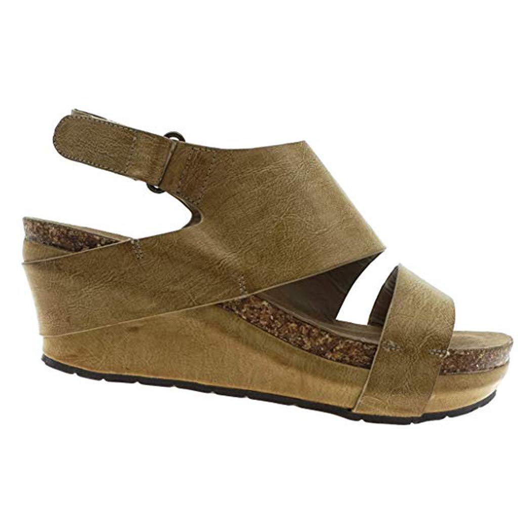 Feibeauty Mesdames Mode Sandales Compens/ées Plateforme Talon Lani/ère Cheville Espadrille Chic Boucle Sandale /Él/égante Bout Ouvert Chaussures