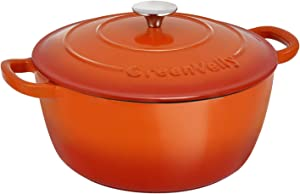 Pataku Enameled Cast Iron Covered with Dutch Oven Classic with Dual Handle, Lodge 4.5-Quar, Orange